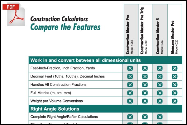 Comparison Chart: Which Construction Master calculator best fits ...