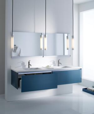 Robern S Latest Collection Of Wall Mounted Vanities Can Include A Night Light Electric Outlets Integrated Inside The Vanity Drawer Hair Dryer Holster