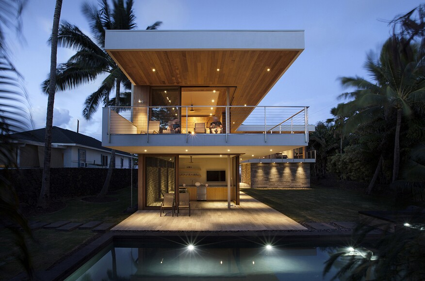 Island House | Architect Magazine | Michael Piché, AIA, Koloa, HI on garage with windows, garage with pool, garage with landscaping, garage with fireplace, garage with bathroom, garage with living room,