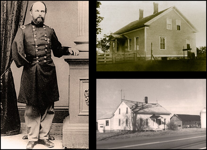 Stannard, shown here (photo, left), is renowned for helping thwart Pickett's Charge at Gettysburg on July 3, 1863. Later in the war, he was wounded and lost his right arm in the Battle of Fort Harrison on September 30, 1864. Stannard's home circa 1880s (photo, above right) and the late 1980s (photo, below right). The home sat vacant since 1988, its barn burned in a fire department training exercise the same year.