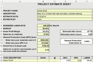 estimating from yellow pad to excel spreadsheet jlc online
