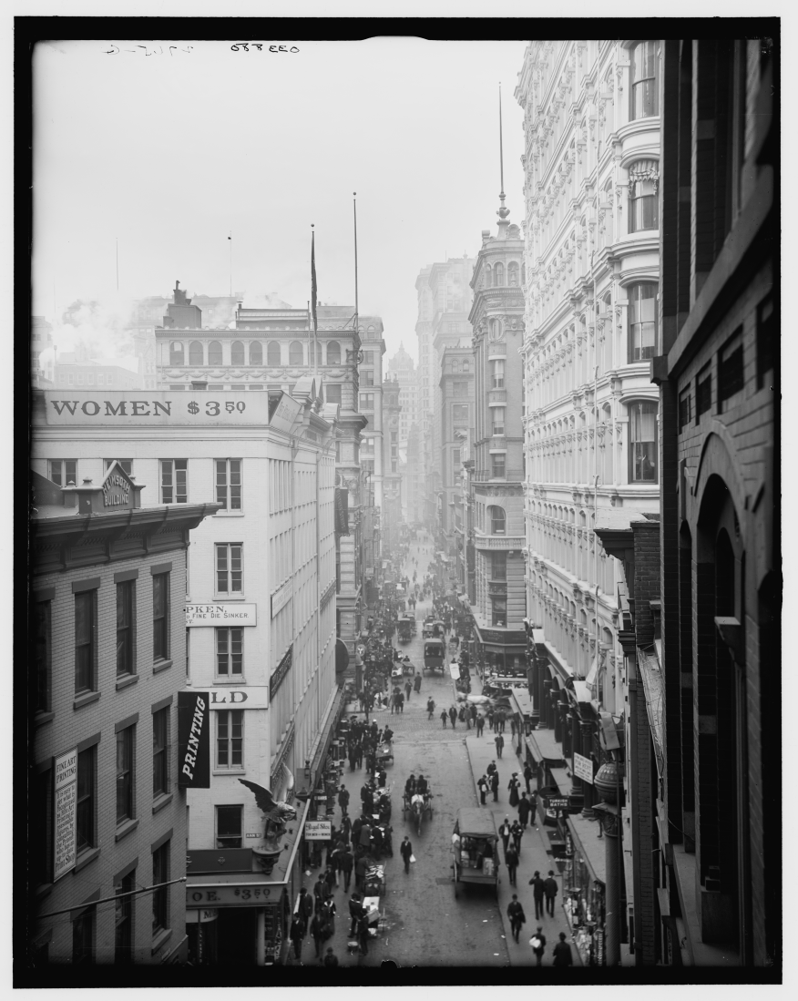 Nassau Street à New York vers 1905, avant l'avènement des lois sur les zones de pots-de-vin