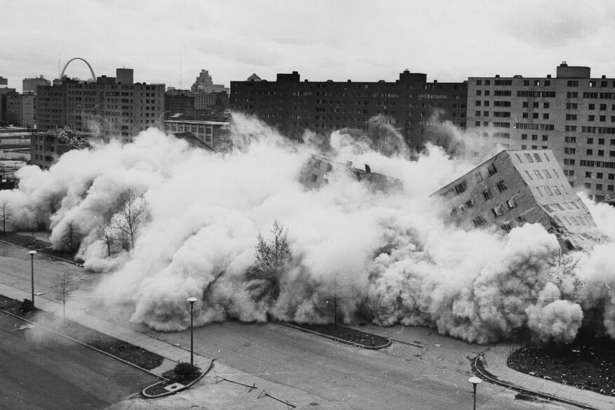 An April 1972 demolition at St. Louis's Pruitt-Igoe public housing complex, designed by Minoru Yamasaki.