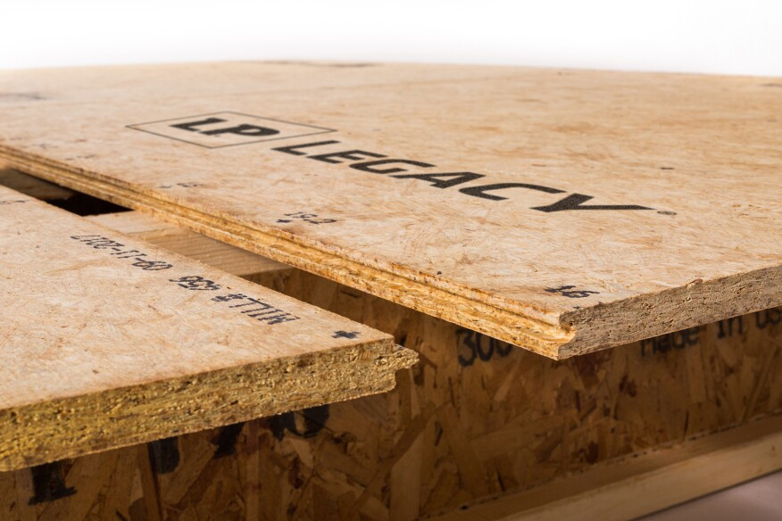 Though the wood strands in OSB look random, their placement is actually precisely engineered to determine the panel's strength and stiffness.