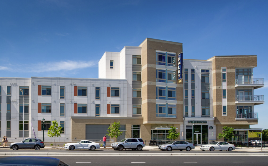The Daley apartment building, designed by KTGY Architecture + Planning, is the first phase in the Westside at Shady Grove community in Rockville, Md., near Washington, D.C.