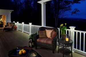 Deck rail lights from azek custom home magazine products decks new deck lights from azek feature lighted rail post caps and under top rail led strips designed to eliminate hot spots the caps come in two styles to fit aloadofball Gallery