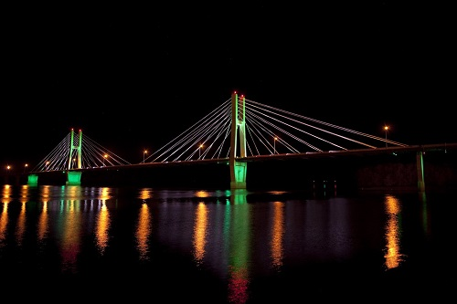 The Bayview Bridge On The Mississippi River Shines At Night