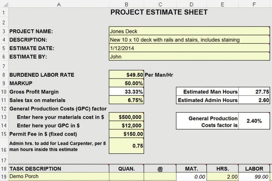 estimating  from yellow pad to excel spreadsheet
